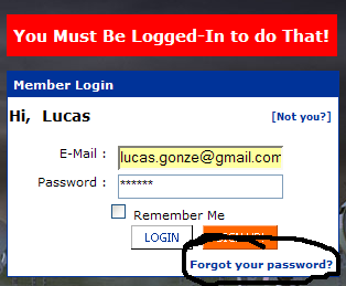 Ask for password reminder
