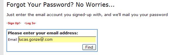 Enter email address for reminder