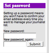 Post-facto suggestion to set a password