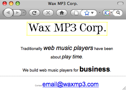 Wax MP3 Corp: music players for business